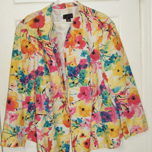 Multi Colored Floral Open Front Jacket 24W
